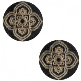 Basic houten cabochon 12mm mandala design Black