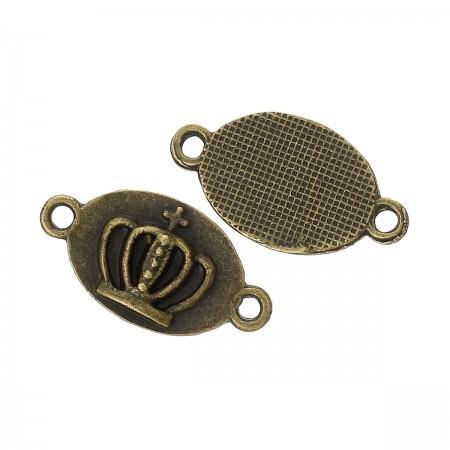Connector ovaal met kroon bronskleur