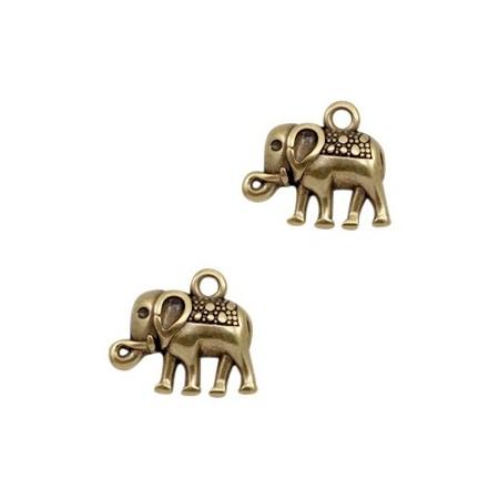 DQ bedeltje elephant Antiek brons (nikkelvrij)