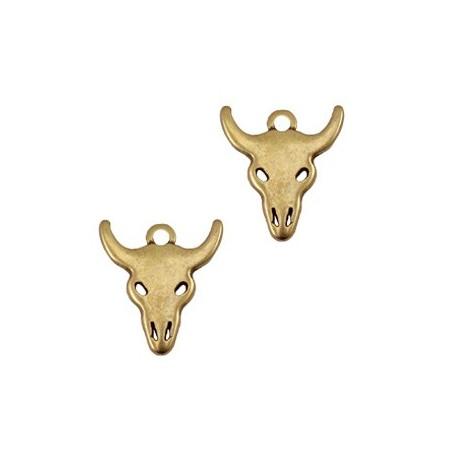 Bedeltje DQ buffelkop Antiek brons (nikkelvrij)