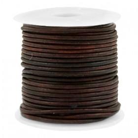 DQ leer rond 1 mm Vintage auburn brown