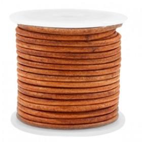 DQ leer rond 2 mm Vintage copper brown
