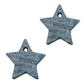 DQ leer hanger ster Vintage blue