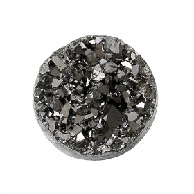 12mm platte cabochon Drusy Resin Silver-Gray