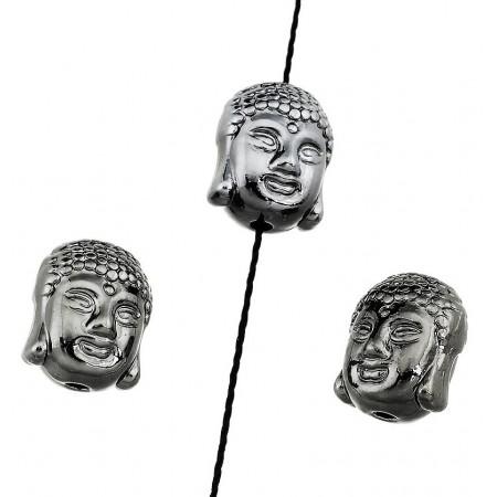 Metaal kraal Buddha hoofd Antraciet