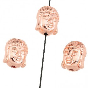 Metaal kraal Buddha hoofd Rose gold