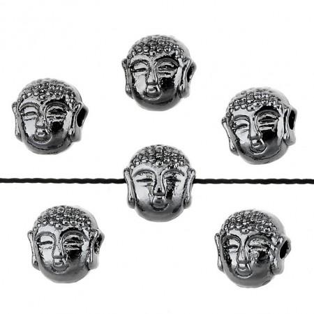 Metaal kraal Buddha hoofd small Antraciet