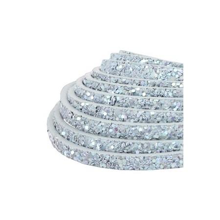 Plat imi leer 5mm met glitters Light blue