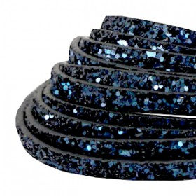 Plat imi leer 5mm met glitters Dark blue