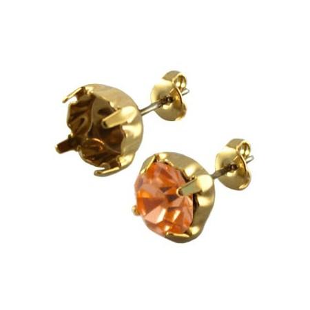 DQ oorstekers voor puntsteen ss39 Gold plated