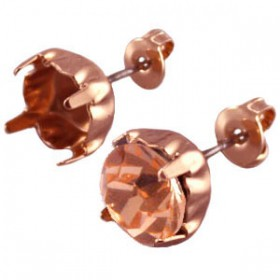 DQ oorstekers voor puntsteen ss39 Rose gold plated