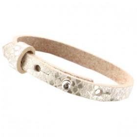 Cuoio armbanden leer Snake 8 mm voor 12 mm cabochon metallic white grey