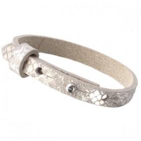 Cuoio armbanden leer Snake 8 mm voor 12 mm cabochon metallic greige
