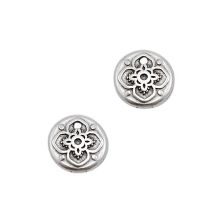 DQ bedeltje rond mandala Antiek zilver (nikkelvrij)