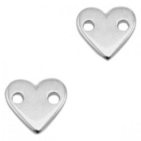 DQ metalen tussenstuk hart Antiek zilver (nikkelvrij)