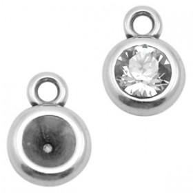 DQ metaal setting rond met 1 oog voor SS24 Antiek zilver (nikkelvrij)