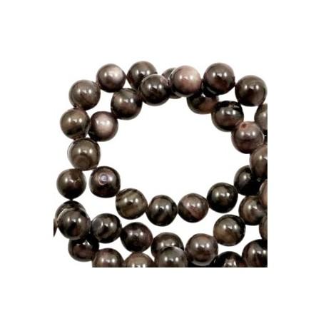 Schelp kralen rond 8mm Multicolour dark brown-grey