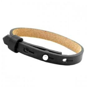 Cuoio armbanden leer Kids 8 mm voor 12 mm cabochon Zwart