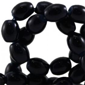 Ovalen glaskralen Dark navy blue