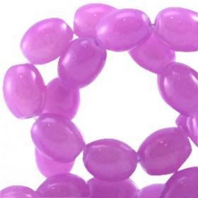 Ovalen glaskralen Violet pink