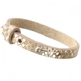 Cuoio armbanden leer Snake 8 mm voor 12 mm cabochon metallic khaki brown