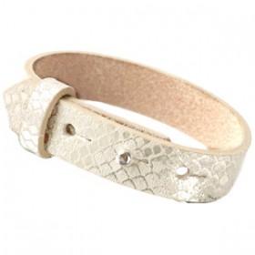 Cuoio armbanden leer Snake 15 mm voor 20 mm cabochon Metallic white grey
