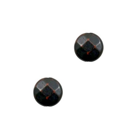 DQ acryl facet plat rond 14 mm Dark brown-black