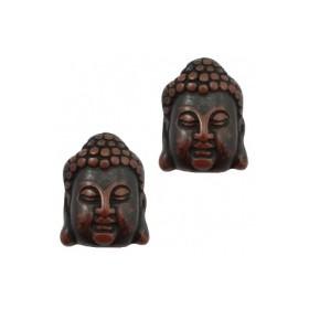 DQ acryl kraal Buddha hoofd Dark brown-black