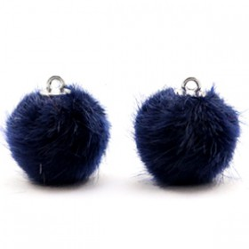 Pompom 16mm met zilveren oog Dark midnight blue