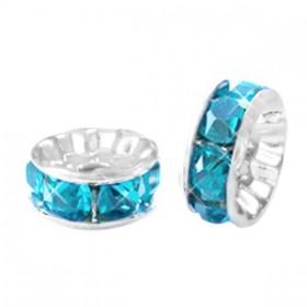 Rondellen met Strass 8mm Silver-turquoise