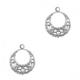 TQ metalen bedel ring Barok 17mm Antiek zilver