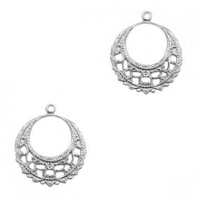 TQ metalen bedel ring Barok 22mm Antiek zilver