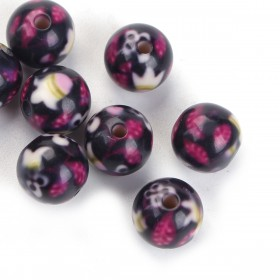 Resin kralen 10mm Black Flower Pattern