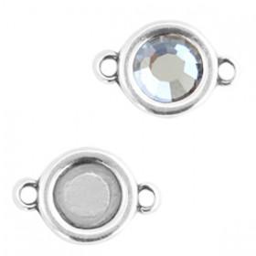 DQ metalen setting rond met 2 ogen voor SS30 flatback Antiek zilver (nikkelvrij)