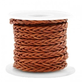 DQ leer 4mm rond gevlochten Copper brown