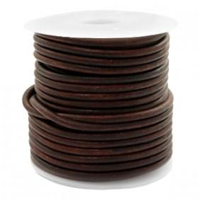 DQ leer rond 3 mm Vintage auburn brown