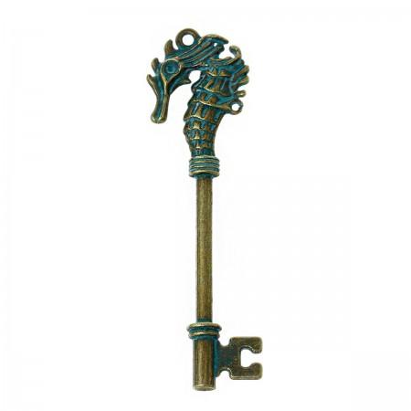 Hanger sleutel met zeepaard Brons Patina