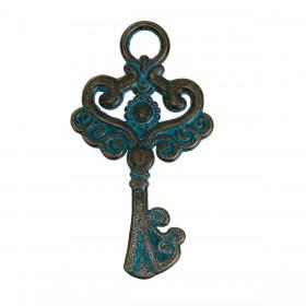 Bedeltje sleutel Brons Patina