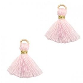 Kwastjes 1cm Goud apple blossom pink