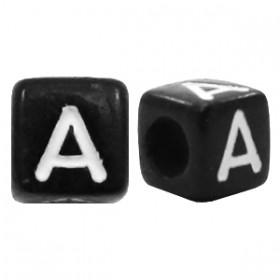 Acryl letterkraal vierkant zwart A