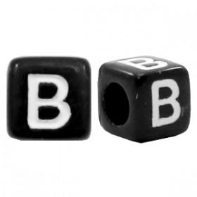 Acryl letterkraal vierkant zwart B
