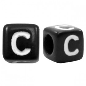 Acryl letterkraal vierkant zwart C