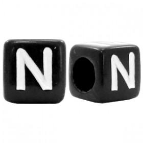 Acryl letterkraal vierkant zwart N