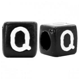Acryl letterkraal vierkant zwart Q