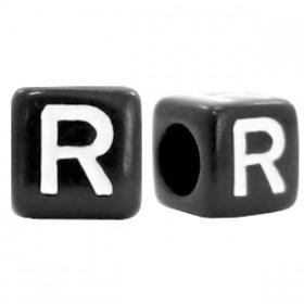 Acryl letterkraal vierkant zwart R
