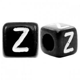 Acryl letterkraal vierkant zwart Z