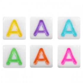 Acryl letterkraal vierkant A gekleurd