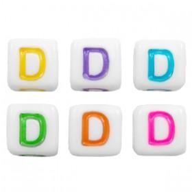 Acryl letterkraal vierkant D gekleurd