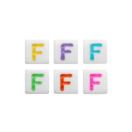 Acryl letterkraal vierkant F gekleurd