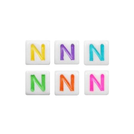 Acryl letterkraal vierkant N gekleurd
